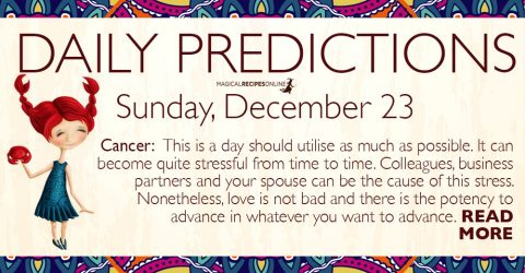 Daily Predictions for Sunday 23 December 2018