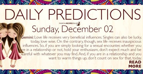 Daily Predictions for Sunday 2 December 2018