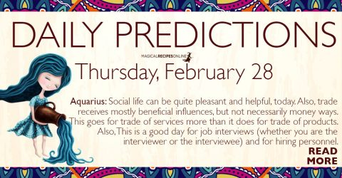 Daily Predictions for Thursday 28 February 2019r