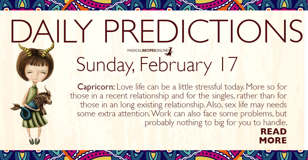 Daily Predictions for Sunday 17 February 2019