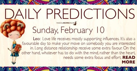 Daily Predictions for Sunday 10 February 2019