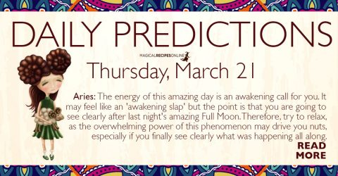 Daily Predictions for Thursday, March 21 2019