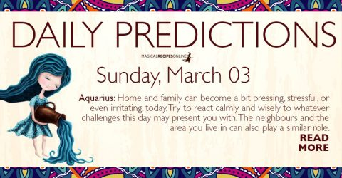 Daily Predictions for Sunday 3 March 2019