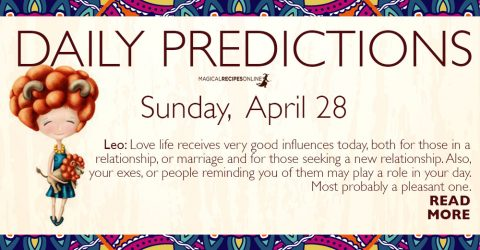 Daily Predictions for Sunday 28 April 2019