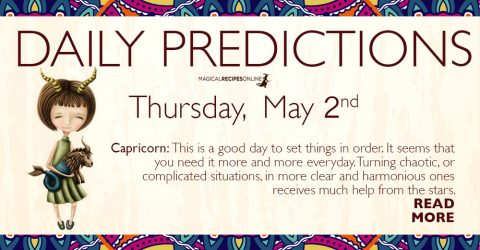 Daily Predictions for Thursday 02 May 2019