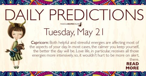 Daily Predictions for Tuesday 21 May 2019