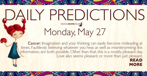 Daily Predictions for Monday 27 May 2019