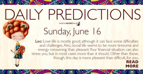 Daily Predictions for Sunday 16 June 2019