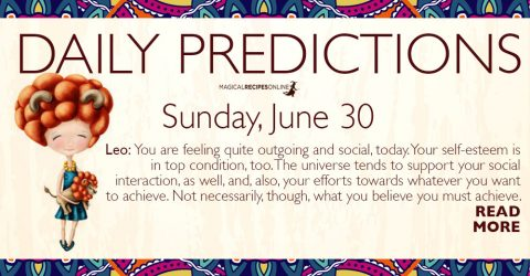 Daily Predictions for Sunday 30 June 2019