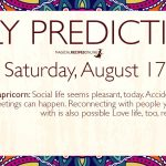 Daily Predictions for Saturday 17 August 2019