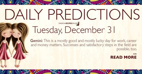 Daily Predictions for Tuesday 31 December 2019