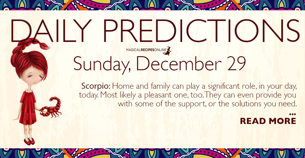 Daily Predictions for Sunday 29 December 2019