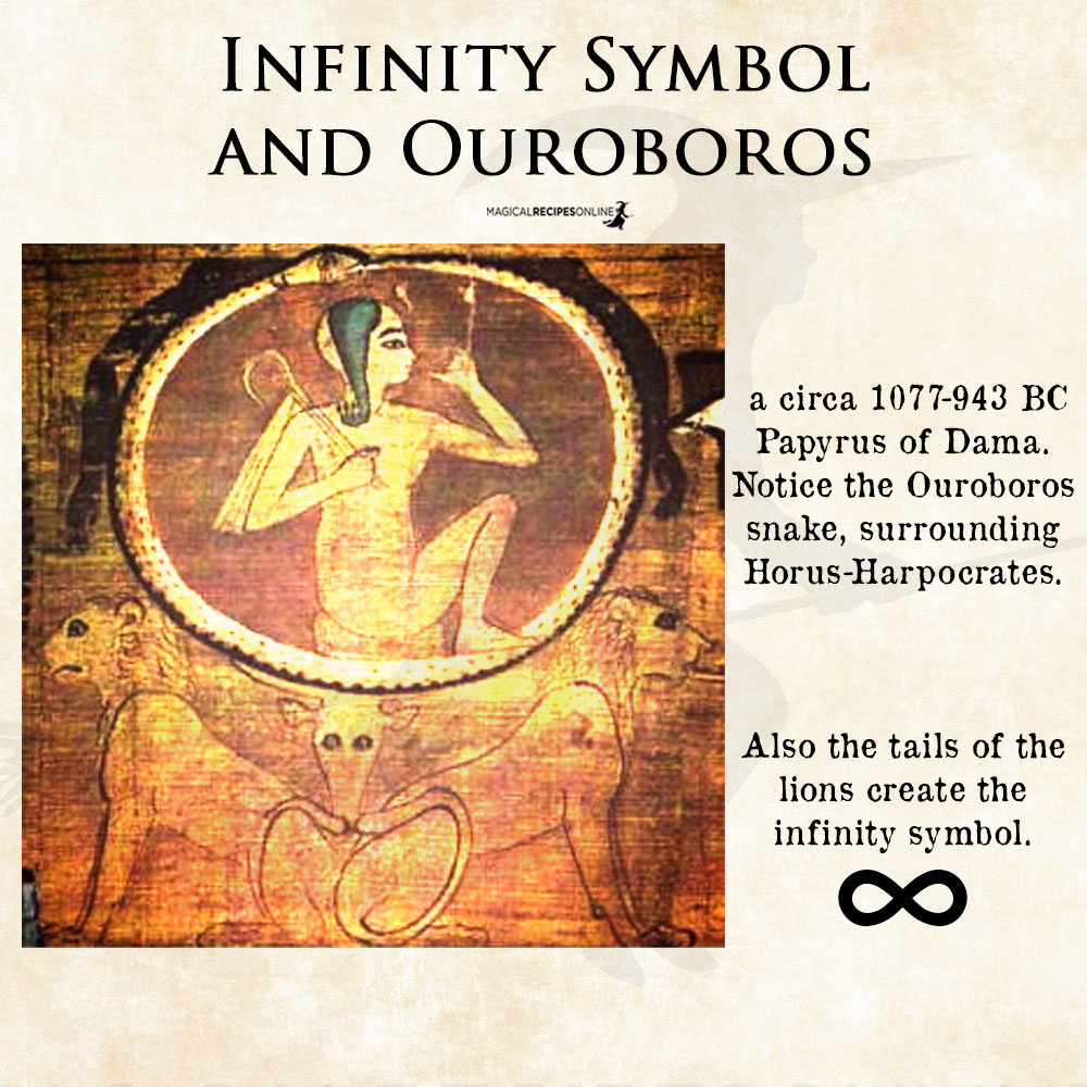 Notice the Ouroboros circling Horus - infinity symbol