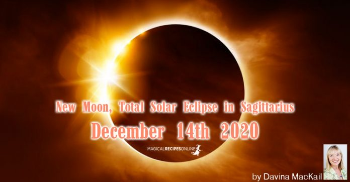 New Moon, Total Solar Eclipse in Sagittarius December 14th 2020