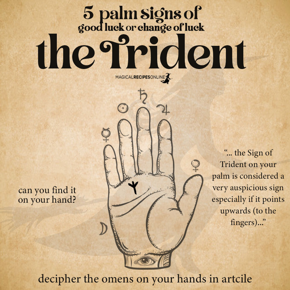 trident sign palmistry - Palm signs of Good Luck